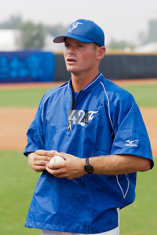 17 August 2007: Team France manager Jeff Zeilstra is seen in practice during the Good Luck Beijing International baseball tournament (olympic test event) at the Wukesong Baseball Field in Beijing, China.