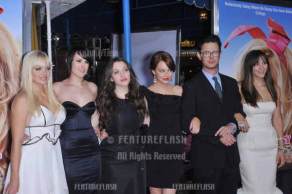 "LtoR:  Anna Faris, Rumer Willis, Kat Denninigs, Emma Stone, Colin Hanks & Katharine McPhee at the Los Angeles premiere of their new movie ""The House Bunny"" at Mann Village Theatre, Westwood..August 20, 2008  Los Angeles, CA.Picture: Paul Smith / Featureflash"