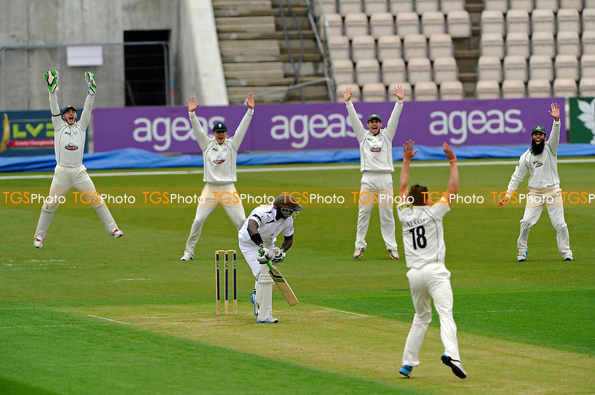 Chris Russell of Worcestershire appeals for LBW against Michael Carberry of Hampshire and is given out -Hampshire CCC vs Worcestershire CCC - LV County  Championship Cricket Match at the Ageas Bowl, Hampshire - 06/04/14 - MANDATORY CREDIT: Denis Murphy/TGSPHOTO - Self billing applies where appropriate - 0845 094 6026 - contact@tgsphoto.co.uk - NO UNPAID USE