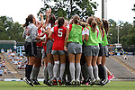 24 August 2014: Ohio State players jump in unison before the game. The University of North Carolina Tar Heels hosted the Ohio State University Buckeyes at Fetzer Field in Chapel Hill, NC in a 2014 NCAA Division I Women's Soccer match. UNC won the game 1-0.