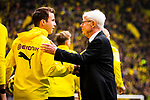 11.05.2019, Signal Iduna Park, Dortmund, GER, 1.FBL, Borussia Dortmund vs Fortuna D&uuml;sseldorf, DFL REGULATIONS PROHIBIT ANY USE OF PHOTOGRAPHS AS IMAGE SEQUENCES AND/OR QUASI-VIDEO<br /> <br /> im Bild | picture shows:<br /> Reinhard Rauball (Praesident BVB) begruesst Mario Goetze (Borussia Dortmund #10) und die Spieler, <br /> <br /> Foto &copy; nordphoto / Rauch