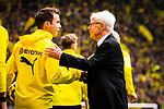 11.05.2019, Signal Iduna Park, Dortmund, GER, 1.FBL, Borussia Dortmund vs Fortuna Düsseldorf, DFL REGULATIONS PROHIBIT ANY USE OF PHOTOGRAPHS AS IMAGE SEQUENCES AND/OR QUASI-VIDEO<br /> <br /> im Bild | picture shows:<br /> Reinhard Rauball (Praesident BVB) begruesst Mario Goetze (Borussia Dortmund #10) und die Spieler, <br /> <br /> Foto © nordphoto / Rauch