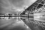 Burnside Bridge Downtown Portland Oregon at night Black and White