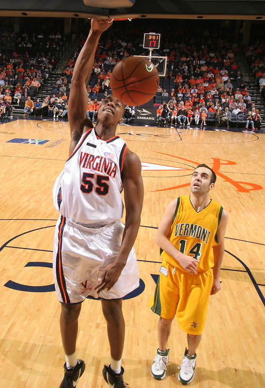 UVa basketball player Jerome Meyinsse during the 2008-09 season in Virginia. Photo/Andrew Shurtleff.
