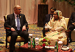 Palestinian Prime Minister Rami Hamdallah meets with Bangladesh's Prime Minister Sheikh Hasina during the Asian African Conference in Jakarta April 23, 2015. The 60th Asian-African Conference is held in Jakarta and Bandung from 19 to 24 April 2015. Photo by Prime Minister Office