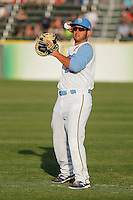 Myrtle Beach Pelicans catcher Ben Carhart (22) before a game against the Wilmington Blue Rocks at Ticketreturn.com Field at Pelicans Ballpark on April 09, 2015 in Myrtle Beach, South Carolina. Myrtle Beach defeated Wilmington 9-1. (Robert Gurganus/Four Seam Images)