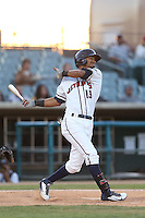 Danry Vasquez #13 of the Lancaster JetHawks bats against the Bakersfield Blaze at The Hanger on May 13, 2014 in Lancaster California. Lancaster defeated Bakersfield, 1-0. (Larry Goren/Four Seam Images)