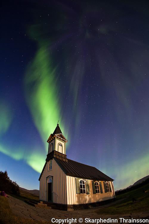 Aurora Borealis at Þingvellir National Park, south west Iceland