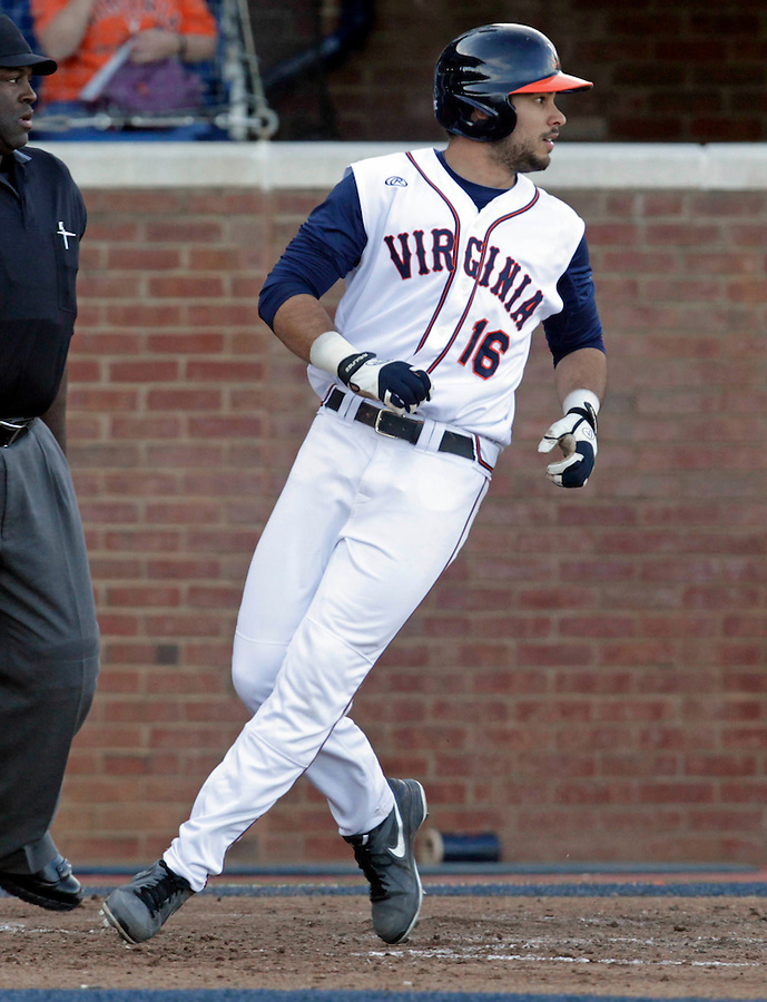 Virginia outfielder Robert Bennie (16) crosses home plate in the 3rd inning during the game against James Madison University Tuesday in Charlottesville, VA.  Photo/The Daily Progress/Andrew Shurtleff