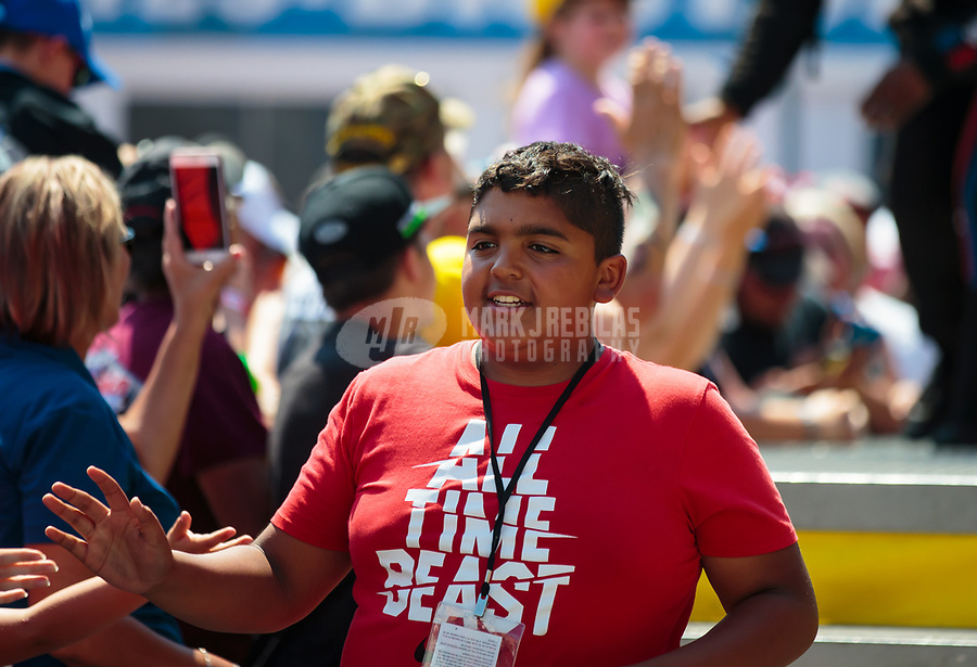 Jun 17, 2018; Bristol, TN, USA; Anson Brown, son of NHRA top fuel driver Antron Brown (not pictured) during the Thunder Valley Nationals at Bristol Dragway. Mandatory Credit: Mark J. Rebilas-USA TODAY Sports