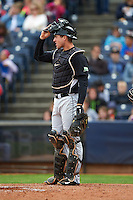 New Britain Rock Cats catcher Tom Murphy (9) during a game against the Akron RubberDucks on May 21, 2015 at Canal Park in Akron, Ohio.  Akron defeated New Britain 4-2.  (Mike Janes/Four Seam Images)