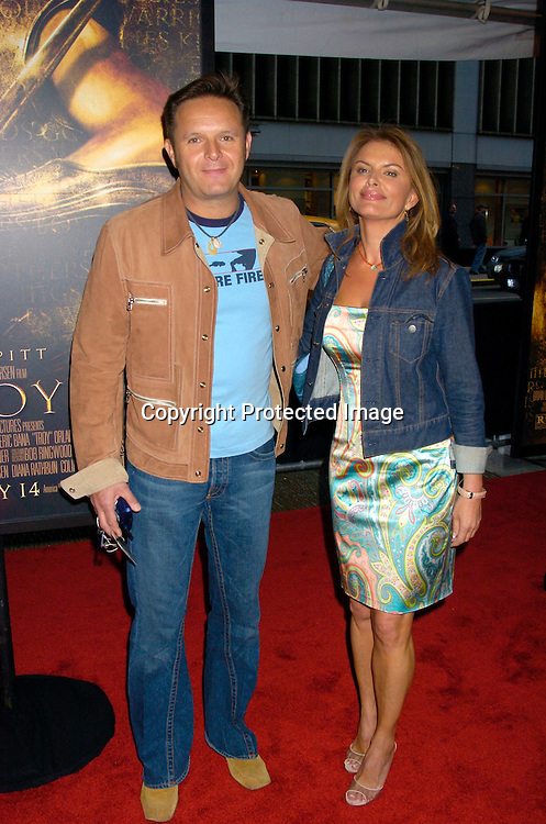 """Mark Burnett and girlfriend Roma Downey ..at the US Premiere of """" Troy"""" on May 10, 2004 at the Ziegfeld Theatre. Photo by Robin Platzer, Twin Images"""