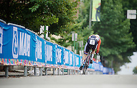 Steven Lammertink (NED) speeding out of a corner<br /> <br /> U23 Men TT<br /> UCI Road World Championships / Richmond 2015