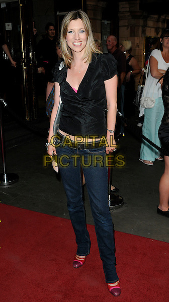 "CLAIRE GOOSE .At the ""Priscilla, Queen Of The Desert - the musical"" new cast press night, Palace Theatre, London, England, UK, .22nd June 2010..full length clare black top jeans pink two tone shoes toe cap shirt wrap  .CAP/CAN.©Can Nguyen/Capital Pictures."