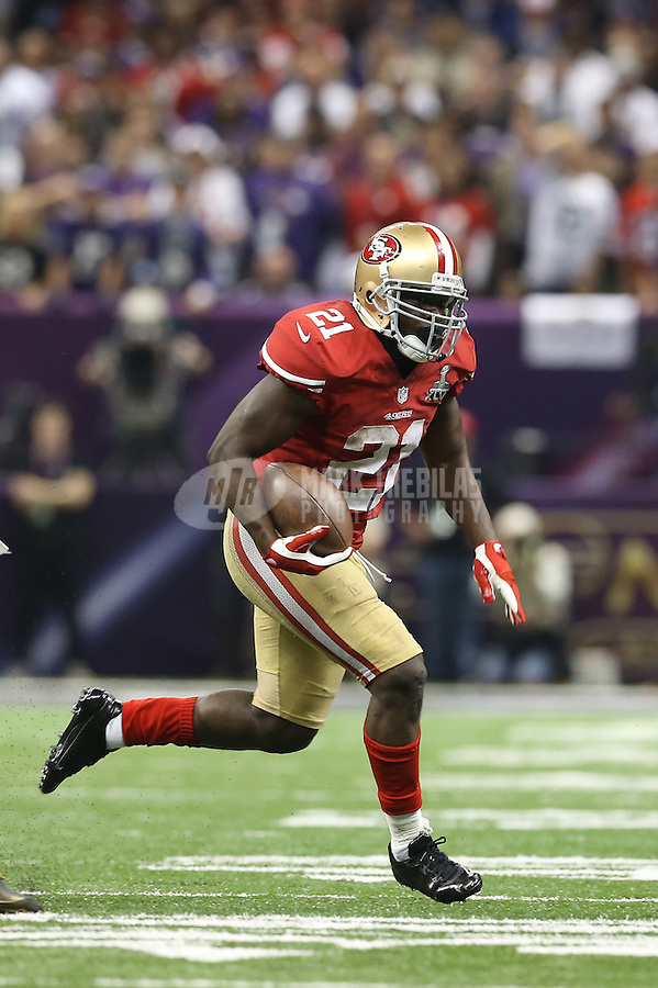 Feb 3, 2013; New Orleans, LA, USA; San Francisco 49ers running back Frank Gore (21) against the Baltimore Ravens in Super Bowl XLVII at the Mercedes-Benz Superdome. Mandatory Credit: Mark J. Rebilas-