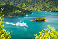 Interislander ferry in Queen Charlotte Sound leaving Picton, Marlborough Sounds, New Zealand, NZ