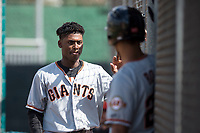 San Francisco Giants infielder Alexander Canario (8) walks to the dugout after scoring a run during a Minor League Spring Training game against the Cleveland Indians at the San Francisco Giants Training Complex on March 14, 2018 in Scottsdale, Arizona. (Zachary Lucy/Four Seam Images)