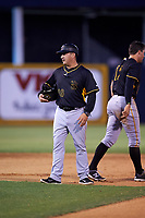 Bradenton Marauders manager Gerardo Alvarez (18) during a game against the Tampa Yankees on April 15, 2017 at George M. Steinbrenner Field in Tampa, Florida.  Tampa defeated Bradenton 3-2.  (Mike Janes/Four Seam Images)