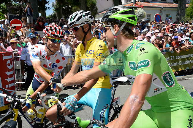 L-R Polka Dot Jersey Rafal Majka (POL) Tinkoff-Saxo, Yellow Jersey Vicenzo Nibali (ITA) Astana and Green Jersey Peter Sagan (SVK) Cannondale before the start of Stage 17 of the 2014 Tour de France running 124.5km from Saint-Gaudens to Saint-Lary Pla d'Adet. 23rd July 2014.<br /> Photo ASO/B.Bade/www.newsfile.ie