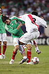 June 08 2008:  Gerardo Torrado (Cruz Azul) (6) of Mexico and Donny Neyra (Universitario) (3) of Peru battle for the ball.  During the third and final match of Mexico's 2008 USA Tour in preparation for qualification for FIFA's 2010 World Cup, the national soccer team of Mexico defeated Peru 4-0 at Soldier Field, in Chicago, IL.