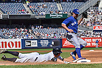 Brett Gardner (Yankees), R.A. Dickey (Blue Jays), SEPTEMBER 13, 2015 - MLB : Brett Gardner of the New York Yankees grounds out in the third inning during the Major League Baseball game against the Toronto Blue Jays at Yankee Stadium in the Bronx, New York, United States. (Photo by Hiroaki Yamaguchi/AFLO)