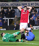 James Poole of Salford City after missing the target - Emirates FA Cup Second Round Replay - Hartlepool vs Salford City - Victoria Park - Hartlepool - England - 15th of December 2015 - Picture Jamie Tyerman/Sportimage