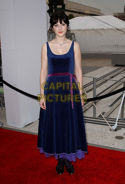 ZOOEY DESCHANEL .A The Placido Domingo & Friends Concert and Gala held at The Dorothy Chandler Pavilion in downtown L.A..dark blue velvet dress, full length, full-length.www.capitalpictures.com.sales@capitalpictures.com.©Capital Pictures