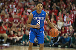 Guard Tyler Ulis of the Kentucky Wildcats commands his team during the game against  the Louisville Cardinals at KFC Yum! Center on Saturday, December 27, 2014 in Louisville `, Ky. Kentucky leads Louisville 22-18 at halftime. Photo by Michael Reaves | Staff