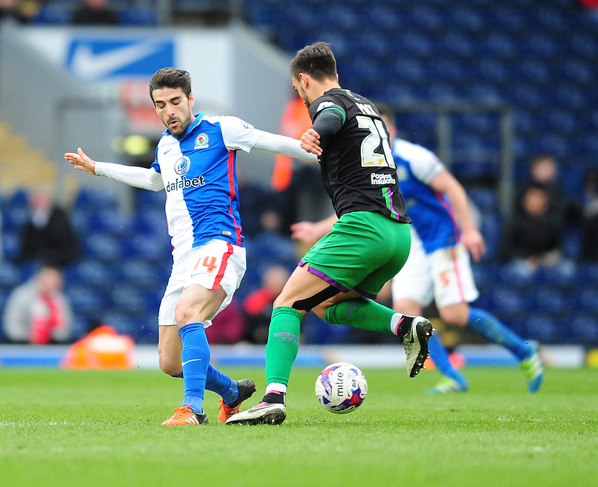 Blackburn Rovers&rsquo; Jordi Gomez vies for possession with Bristol City's Marlon Pack<br /> <br /> Photographer Chris Vaughan/CameraSport<br /> <br /> Football - The Football League Sky Bet Championship - Blackburn Rovers v Bristol City - Saturday 23rd April 2016 - Ewood Park - Blackburn <br /> <br /> &copy; CameraSport - 43 Linden Ave. Countesthorpe. Leicester. England. LE8 5PG - Tel: +44 (0) 116 277 4147 - admin@camerasport.com - www.camerasport.com