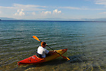 Kayaker at D.L. Bliss State park, Lake Tahoe