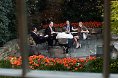 United States President Barack Obama meets with advisors on the patio outside the Oval Office, September 14, 2011. From left are: Senior Advisor David Plouffe; National Security Advisor Tom Donilon; Ben Rhodes, Deputy National Security Advisor for Strategic Communications; and Samantha Power, Senior Director for Multilateral Affairs and Human Rights..Mandatory Credit: Pete Souza - White House via CNP
