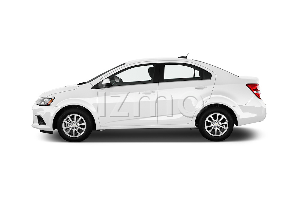 Car Driver side profile view of a 2017 Chevrolet Sonic LT 4 Door Sedan Side View
