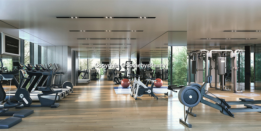 BNPS.co.uk (01202 558833)<br /> Pic: SothebysRealty/BNPS<br /> <br /> Fully kitted gym. <br /> <br /> Is this the best view in London ...<br /> <br /> A stunning apartment offering a breathtaking panorama of the nation's capital has emerged for sale for £900,000.<br /> <br /> The stylish one bedroom flat is located on the 43rd floor of the new-build 704ft Valiant Tower in South Quay Plaza in Canary Wharf.<br /> <br /> It overlooks Greenwich and the River Thames, with London's major landmarks on display.<br /> <br /> The building has a rooftop terrace, a swimming pool and a gym, and is surrounded by waterside gardens.<br /> <br /> The flat is being sold with estate agent Sotheby's International Realty.