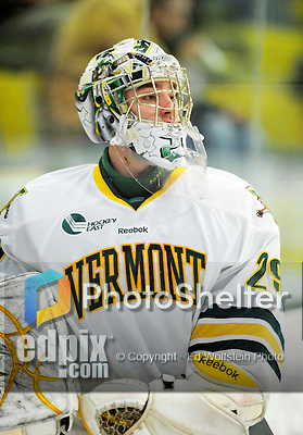 9 January 2011: University of Vermont Catamount goaltender Rob Madore, a Junior from Pittsburgh, PA, skates behind his net prior to a game against the Boston University Terriers at Gutterson Fieldhouse in Burlington, Vermont. The Catamounts fell to the Terriers 4-2 in Hockey East play. Mandatory Credit: Ed Wolfstein Photo