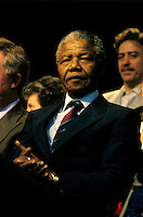 Montreal (Qc) CANADA, June 20, 1990 File Photo.<br /> South African opposition leader Nelson Mandela (R) before  his speech in front the black community in Montreal (Quebec, Canada) on June 20, 1990, <br /> <br /> Photo (c) 1990, by Pierre Roussel - IMAGES DISTRIBUTION