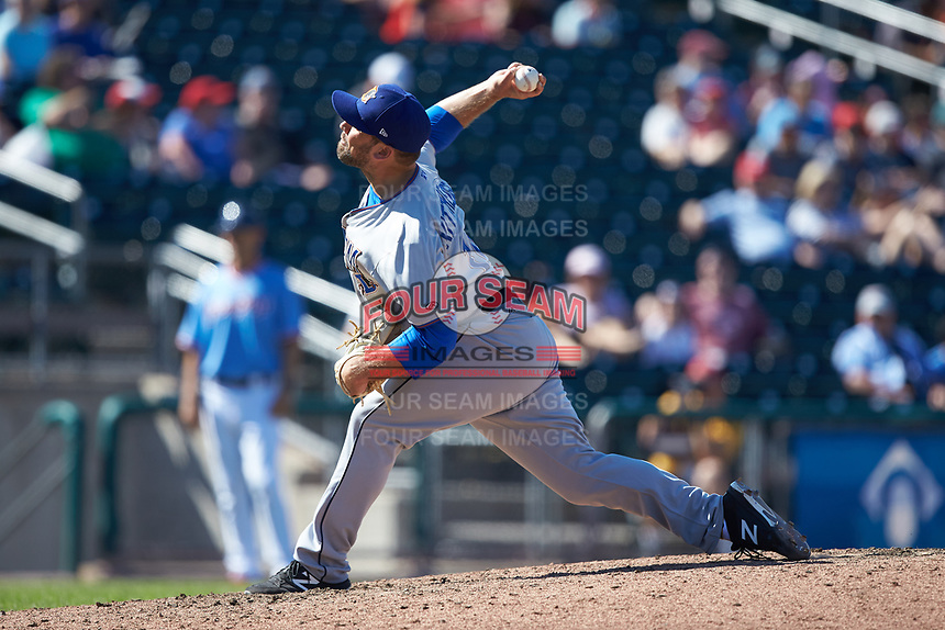 Durham Bulls relief pitcher Andrew Kittredge (14) in action against the Lehigh Valley Iron Pigs at Coca-Cola Park on July 30, 2017 in Allentown, Pennsylvania.  The Bulls defeated the IronPigs 8-2.  (Brian Westerholt/Four Seam Images)