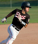WATERTOWN,  CT-071018JS15-- ACTION PERSON- Oakville's Cam Defeo (3) rounds third base on his way to score on a base hit by Justin Guerrera (22) during their Zone 5 American Legion game against Naugatuck  Tuesday at the Taft School in Watertown. <br />  Jim Shannon Republican American