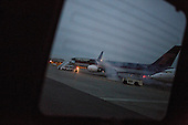 The aircraft with United States President-elect Donald J. Trump aboard waits on the tarmac at Laguardia Airport to fly him to an event in Wisconsin at Laguardia Airport in Queens, New York, U.S., on Tuesday, December 13, 2016. <br /> Credit: John Taggart / Pool via CNP
