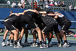 22 March 2015: Wake Forest's players huddle before the match. The Duke University Blue Devils hosted the Wake Forest University Demon Deacons at Ambler Stadium in Durham, North Carolina in a 2014-15 NCAA Division I Men's Tennis match. Duke won the match 4-3.