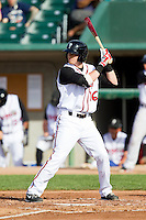 Shane Opitz (16) of the Lansing Lugnuts at bat against the Beloit Snappers at Cooley Law School Stadium on May 5, 2013 in Lansing, Michigan.  The Lugnuts defeated the Snappers 5-4.  (Brian Westerholt/Four Seam Images)