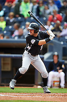 New Britain Rock Cats outfielder Mike Tauchman (18) at bat during a game against the Akron RubberDucks on May 21, 2015 at Canal Park in Akron, Ohio.  Akron defeated New Britain 4-2.  (Mike Janes/Four Seam Images)