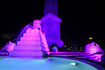 The Fontana dei Leoni turns pink in honour of the forthcoming Giro d'Italia 2018, Rome, Italy. 22nd January 2018.<br /> Picture: LaPresse/Alfredo Falcone | Cyclefile<br /> <br /> <br /> All photos usage must carry mandatory copyright credit (&copy; Cyclefile | LaPresse/Alfredo Falcone)