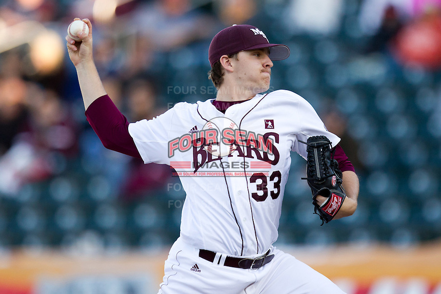 Zach Merciez (33) of the Missouri State Bears delivers a pitch during a game against the Southern Illinois University- Edwardsville Cougars at Hammons Field on March 9, 2012 in Springfield, Missouri. (David Welker / Four Seam Images).