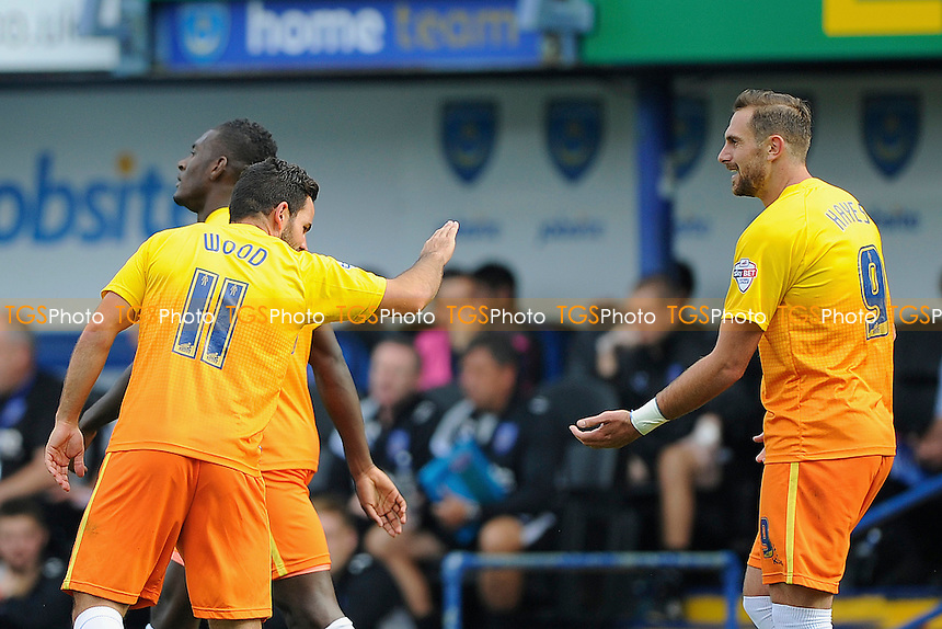 Goalscorer Sam Wood of Wycombe Wanderers (l) thanks Paul Hayes of Wycombe Wanderers - Portsmouth vs Wycombe Wanderers - Sky Bet League Two Football at Fratton Park, Portsmouth, Hampshire - 20/09/14 - MANDATORY CREDIT: Denis Murphy/TGSPHOTO - Self billing applies where appropriate - contact@tgsphoto.co.uk - NO UNPAID USE