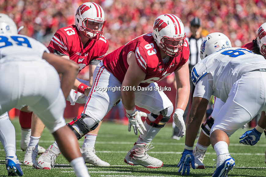 Wisconsin Badgers offensive lineman Michael Deiter (63) during an NCAA college football game against the Georgia State Panthers Saturday, September 17, 2016, in Madison, Wis. The Badgers won 23-17. (Photo by David Stluka)