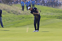 Justin Rose Team Europe chips his drop shot into the 18th green during Friday's Fourball Matches at the 2018 Ryder Cup, Le Golf National, Iles-de-France, France. 28/09/2018.<br /> Picture Eoin Clarke / Golffile.ie<br /> <br /> All photo usage must carry mandatory copyright credit (© Golffile | Eoin Clarke)