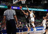 Chicago, IL - April 1, 2019: Stanford Women's Basketball falls to Notre Dame 84-68 in an Elite Eight game of the NCAA Tournament at Wintrust Arena.