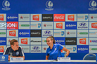 20200824 , GENT , BELGIUM : Gent's head coach Dave Mattheus and Gent's defender Silke Vanwynsberghe (21) pictured during a players presentation of K.A.A. Gent ladies before the 2020 - 2021 season of Belgian Women's SuperLeague , Monday 24 th of August 2020 in Gent , Belgium . PHOTO SPORTPIX.BE | STIJN AUDOOREN