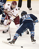 Megan Keller (BC - 4), Vendula Pribylová (Maine - 28) - The Boston College Eagles defeated the visiting University of Maine Black Bears 2-1 on Saturday, October 8, 2016, at Kelley Rink in Conte Forum in Chestnut Hill, Massachusetts.  The University of North Dakota Fighting Hawks celebrate their 2016 D1 national championship win on Saturday, April 9, 2016, at Amalie Arena in Tampa, Florida.