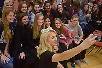 NWA Democrat-Gazette/BEN GOFF @NWABENGOFF<br /> Miss America Savvy Shields of Fayetteville takes a selfie with members of the Fulbright girls basketball team Monday, May 1, 2017, during a presentaiton with Gov. Asa Hutchinson at Fulbright Junior High in Bentonville to kick off a new initiative called 'Healthy Active Arkansas.'